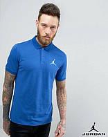 Качественная мужская футболка синяя поло с принтом  Jordan Джордан тенниска