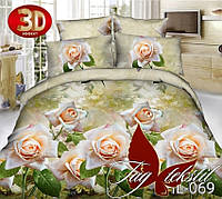 Полуторный недорогой комплект постельного, ткань  поликоттон 3D, HL069