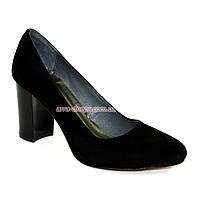 """Женские черные замшевые классические туфли на каблуке. ТМ """"Maestro"""""""