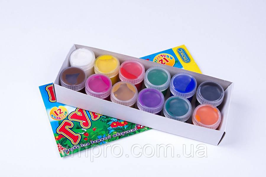 """Гуаш """"Люкс Колор"""" 12 кольорів,№ФГ-12,16 ml, фарби дитячі в картон. упаковці"""