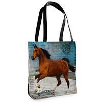 Большая сумка Нежность с принтом Коричневая лошадь