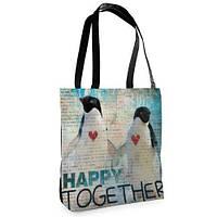 Большая сумка Нежность с принтом Пингвины