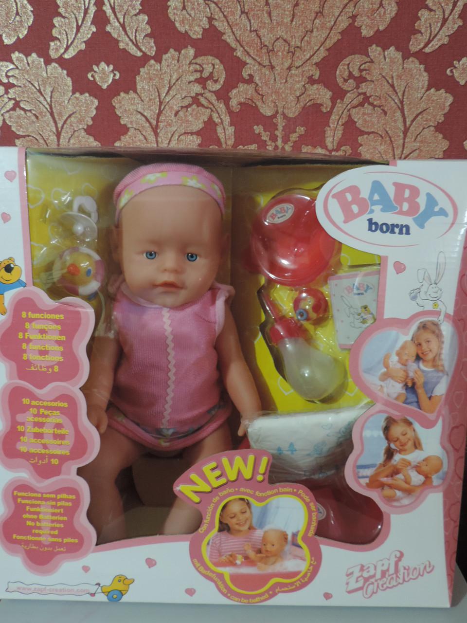 """Пупс кукла """"Baby born""""с реалистичными голубыми глазами."""