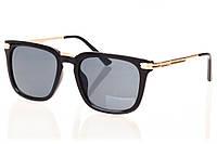 Женские солнцезащитные очки черный градиент, оправа глянцевый черный/метал золото