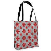 Большая сумка Нежность с принтом Красные снежинки