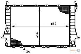 Радиатор охлаждения Audi 100 C4 1991-1992 (2.8 механика) 632*412мм по сотах KEMP