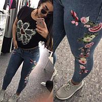 Стильные женские джинсы стрейч с вышивкой в больших размерах (DG-ат4627)