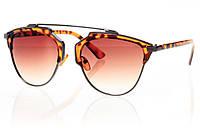 Женские солнцезащитные очки коричневый градиент, оправа леопардовый/темный металлик