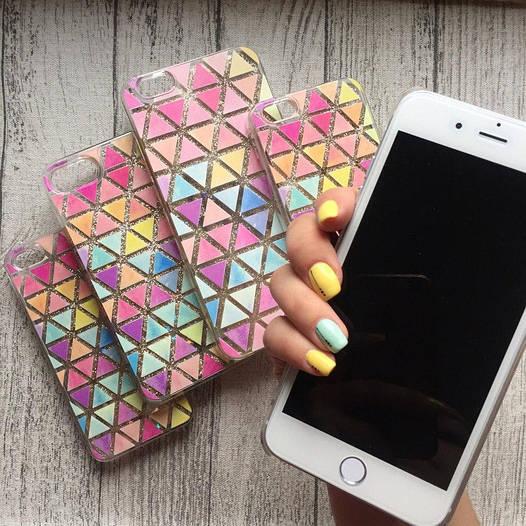 Пластиковый чехол треугольники с переливающимися блёстками для iPhone 6 Plus/6s Plus