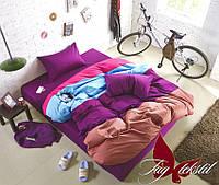 Однотонная, четырехцветная постель, евро размер, 003