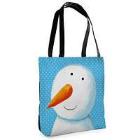 Большая сумка Нежность с принтом Снеговик