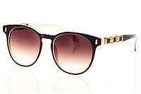 Женские солнцезащитные очки коричневый градиент, оправа глянцевый коричневый/глянцевый белый/вставки золото