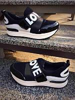 Слипоны женские на платформе LOVE белые, черные кожаные NK0008
