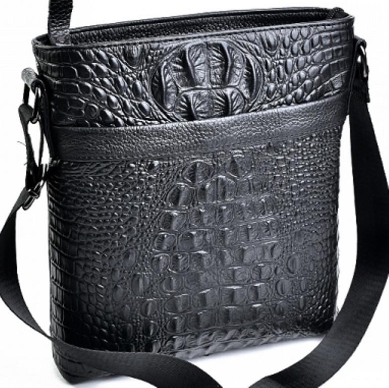 cb6e188f18db Мужская сумка из натуральной кожи с крокодиловой отделкой : продажа ...