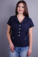 Виола. Стильный пиджак больших размеров. Синий., фото 1