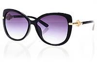 Женские солнцезащитные очки темно-серый градиент, оправа  глянцевый черный/золотые элементы с инкрустацией кам