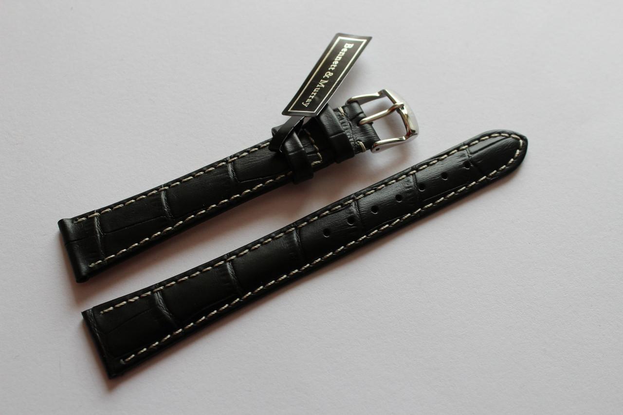 Кожаный ремень Bennett&Murray-ремень из натуральной кожи черный под крокодил  с белой прошивкой 18 мм