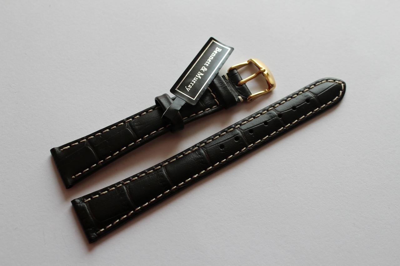 Кожаный ремень Bennett&Murray-ремень из натуральной кожи коричневый крокодил с белой строчкой 18 мм