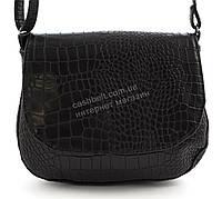 Аккуратная женская стильная сумка почтальонка под рептилию Габриэлла art. черная Sg Украина овальный клапан