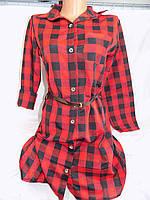 Женская рубашка туника в клетку красная