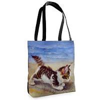 Большая сумка Нежность с принтом Кошечка у моря