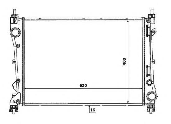 Радиатор охлаждения Fiat Doblo 2010- (1.3 Multijet АС+-) 620*413мм плоские соты KEMP