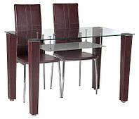 Стол стеклянный прямоугольный Т-285, хромированный, коричневый кожзам на ногах 120х70х75H