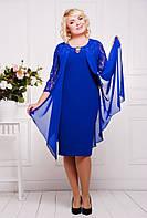 Роскошное платье батал с имитацией шифоновой накидки в расцветках