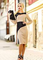 Элегантное трикотажное двухцветное платье (3 расцветки), размеры L-4XL