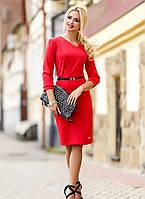 Красное элегантное трикотажное платье, размеры L-3XL