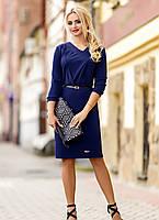 Темно-синее элегантное трикотажное платье, размеры L-3XL