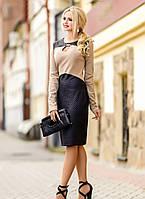 Элегантное трикотажное платье эффектного дизайна, размеры L-3XL