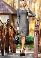 Стильное платье из жаккарда классического приталенного силуэта с длинными рукавами, 3 расцветки (р-ры L-3XL)