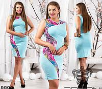 Стильное платье по фигуре со вставкой