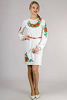 Платье с вышивкой женское с длинным рукавом белое трикотажное (Украина)