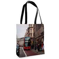 Большая сумка Нежность с принтом Автобус красный