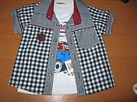 Детский комплект из рубашки и футболки для мальчика 1-4 года Турция коттон
