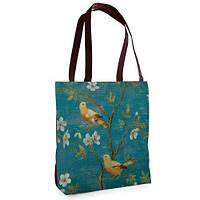 Большая сумка Нежность с весенним принтом