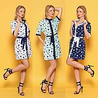 Платье-рубашка с коротким рукавом и воротником стойкой