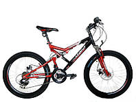 Горный спортивный велосипед 24 дюймов Azimut Scorpion G-FR/D-1(оборудование SHIMANO)красно-черный ***