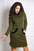 Теплое платье батал с капюшоном и натуральным мехом норки, р-ры 44-50 (3 цвета)