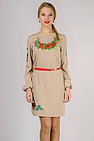 Платье вышиванка женская с длинным рукавом бежевое трикотажное (Украина)