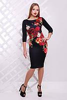 Черное платья с маками и розами миди