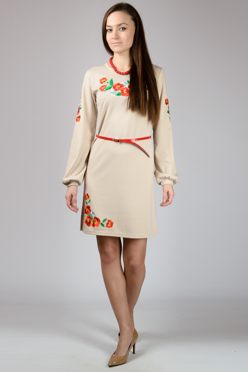 Женское платье вышиванка длинный рукав бежевое трикотажное (Украина)
