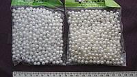 Бусины белые перламутровые, диаметр 5 мм, в пакете