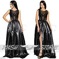 Вечернее платье гипюр и атлас