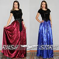 Вечернее платье длинное из атласа с пайетками