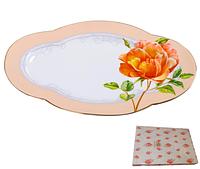 Блюдо овальное 30 см Китайская роза SNT 9705