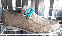 Мужские натуральные кожаные обувной лён туфли летние светлые Uk0423