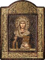 Икона с чешским бисером в рамке - киоте Св. Равноап. Нина просвет. Грузии
